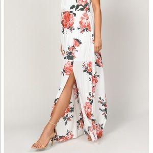 Tobi Dresses - Tobi Ivory Multi Rose Print Maxi Dress